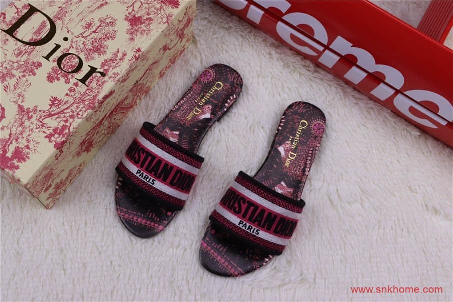 广东版原鞋配件迪奥拖鞋 迪奥女生酒桶拖鞋 货号:KD85930BES26G-潮流者之家