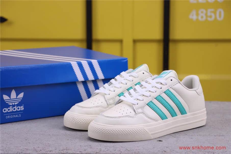 阿迪达斯校园情侣板鞋 Adidas 阿迪三叶草米白薄荷绿板鞋 货号:EQ2859-潮流者之家