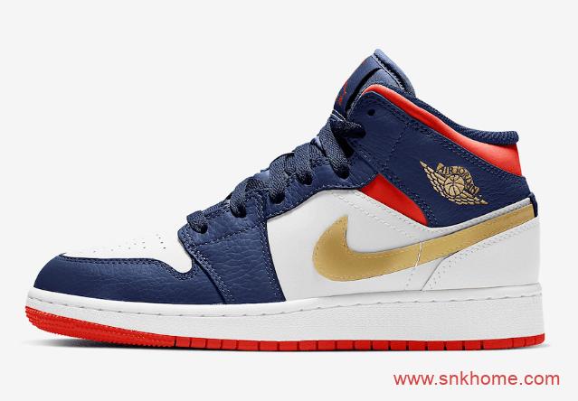 """Air Jordan 1 Mid GS """"Olympic""""  AJ1蓝红金中帮新配色发售信息 货号:BQ6931-104-潮流者之家"""