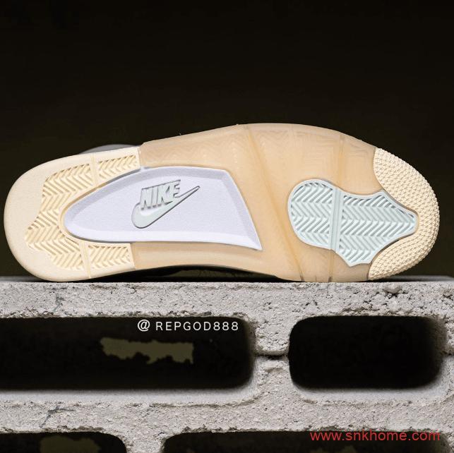 "OFF-WHITE x Air Jordan 4 ""Sail""  字节质感无敌 AJ4OW联名米黄色发售日期 货号:CV9388-100-潮流者之家"