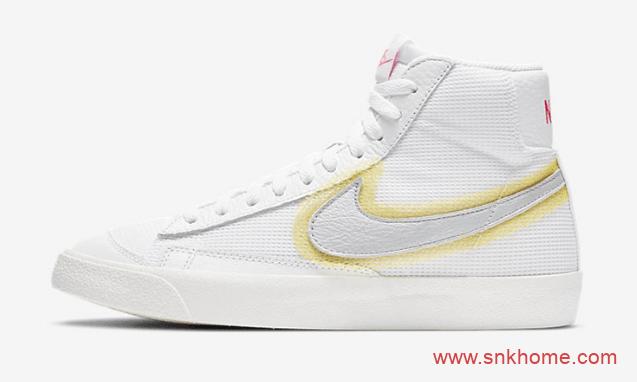 Nike Blazer Mid 77 Vintage 耐克开拓者晕染LOGO设计 耐克开拓者高帮女子板鞋 货号:CZ8105-100-潮流者之家