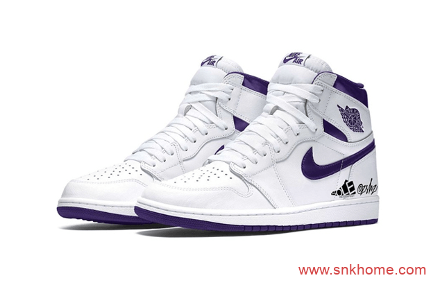 "Air Jordan 1 WMNS ""Court Purple""  AJ1白色实物图首次曝光 货号:CD0461-151-潮流者之家"