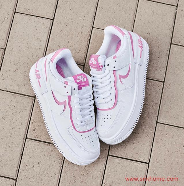 """Nike Air Force 1 """"Shadow"""" WMNS 耐克空军一号马卡龙女神白粉配色潮鞋美图 货号:CI0919-102-潮流者之家"""