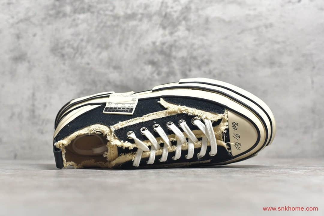 正品吴建豪xVESSEL G.O.P. Low黑色解构鞋 吴建豪重叠厚底软木低帮增高帆布硫化板鞋货号:S19X001B-潮流者之家