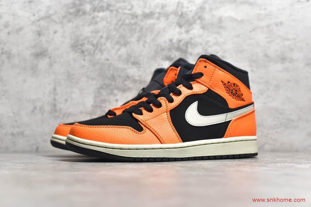 H12纯原版本AJ1黑橙小扣碎中帮实拍 Air Jordan 1 Mid 货号:554724-062-潮流者之家