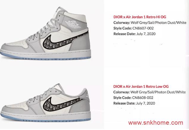 迪奥乔丹联名 天价鞋AJ1迪奥高低帮将一起发售 Dior x Air Jordan 1发售日期-潮流者之家