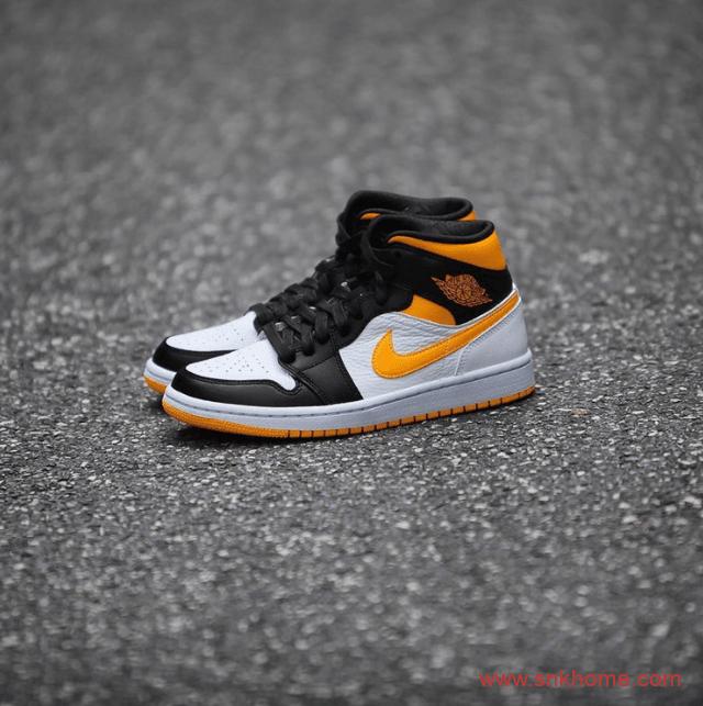 全新配色 Air Jordan 1 Mid黑脚趾设计 AJ1中帮白黑黄实物图-潮流者之家