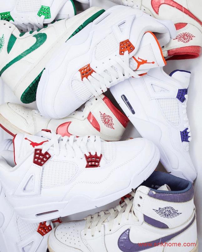 """金属AJ4白红 Air Jordan 4 """"Metallic"""" AJ小白鞋四款配色实物图-潮流者之家"""