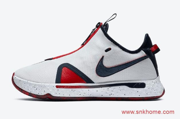 """保罗乔治四代战靴美国队配色 Nike PG4 """"USA"""" 保罗乔治阴阳实战篮球鞋 货号:D5082-101-潮流者之家"""