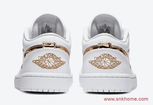 """液态金属 AJ1白金低帮官图 Air Jordan 1 Low """"Metallic Gold"""" AJ小白鞋 货号:CZ4776-100-潮流者之家"""