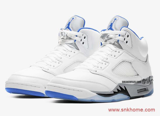 """白蓝AJ5白色球鞋 Air Jordan 5 """"Hyper Royal"""" AJ5皇家蓝效果图 货号:DD0587-140-潮流者之家"""
