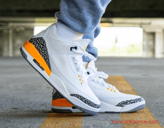 """湖人队配色AJ3白黄 Air Jordan 3 WMNS """"Laser Orange"""" AJ3白黄色球鞋发售日期 货号:CK9246-108-潮流者之家"""