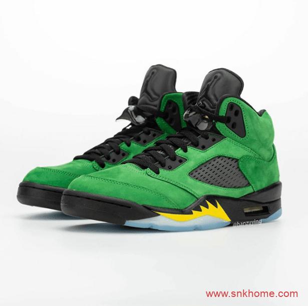 """俄勒冈 AJ5 Air Jordan 5 """"Oregon"""" 绿色麂皮AJ5球鞋发售日期 货号:CK6631-307-潮流者之家"""