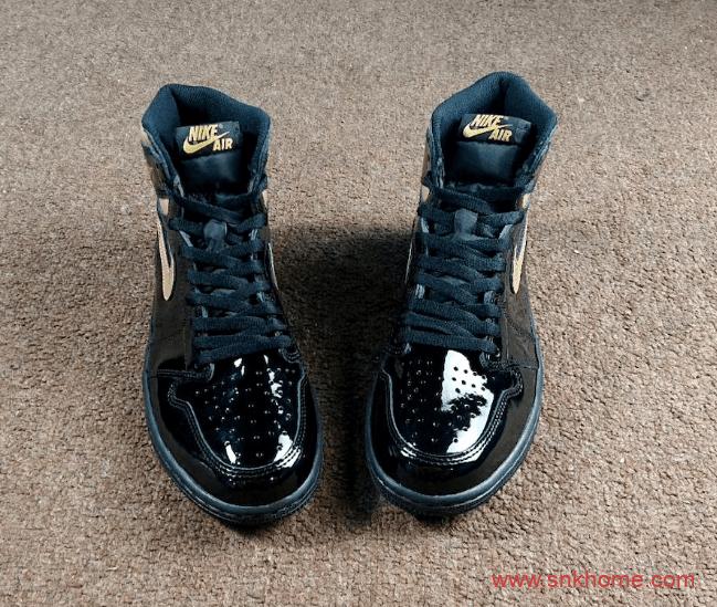 黑金漆皮质感超强 Air Jordan 1 High OG AJ漆皮黑金高帮发售日期 货号:555088-032-潮流者之家