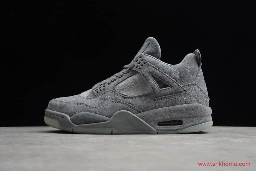 高规格球鞋正品AJ4灰麂皮 Air Jordan 4 Retro Kaws AJ4灰色麂皮翻毛实战篮球鞋 货号:930155-003-潮流者之家
