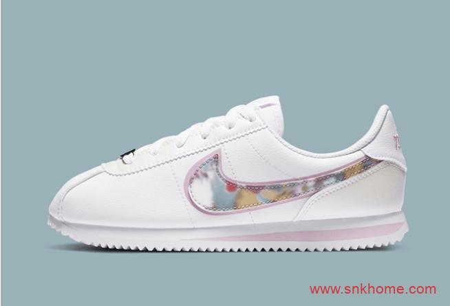 少女粉跑鞋 Nike Cortez SE 耐克阿甘鞋全新白粉配色 货号:CN8145-100-潮流者之家