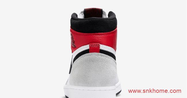 """高帮AJ1灰白红麂皮 Air Jordan 1 """"Light Smoke Grey"""" AJ1""""小 Union""""发售日期 货号:555088-126-潮流者之家"""