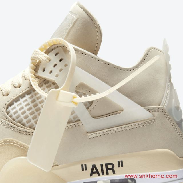 "AJ4OW联名款米白OFF-WHITE x Air Jordan 4 SP WMNS ""Sail""官图释出发售日期 货号:CV9388-100-潮流者之家"