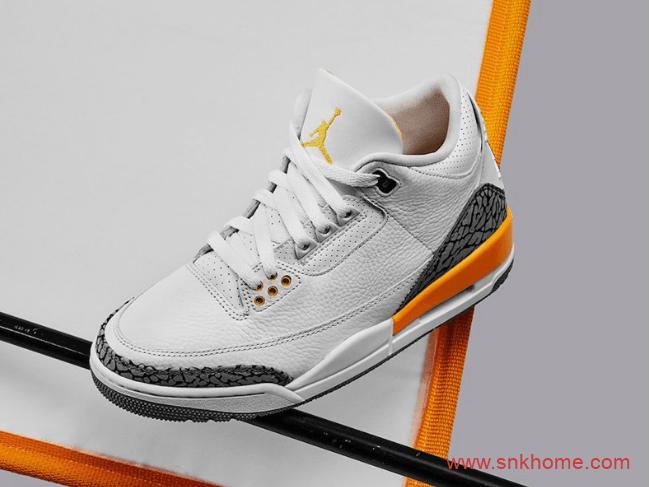 """湖人AJ3白黄爆裂纹 Air Jordan 3 WMNS """"Laser Orange""""实物图曝光 货号:CK9246-108-潮流者之家"""