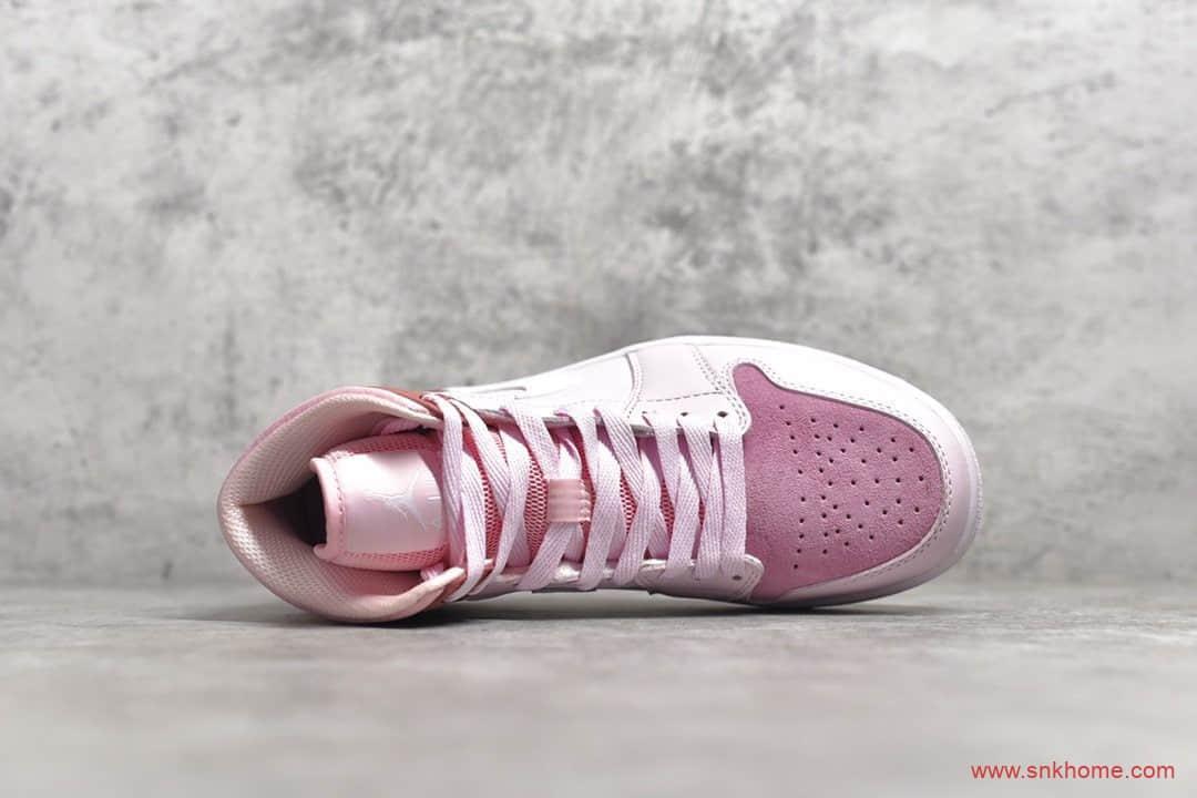 纯原版本AJ1粉色 Air Jordan 1 Mid AJ1中帮樱花粉数码粉 货号:CW5379-600-潮流者之家
