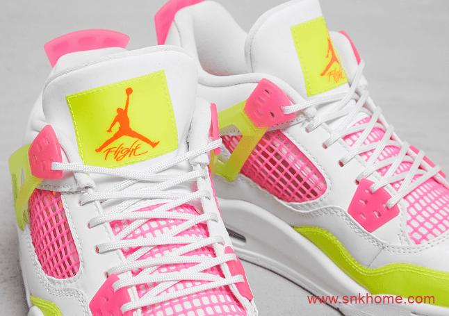 """糖果色AJ4女子球鞋 Air Jordan 4 GS """"Lemon Venom"""" AJ4白粉色发售日期 货号:CV7808-100-潮流者之家"""