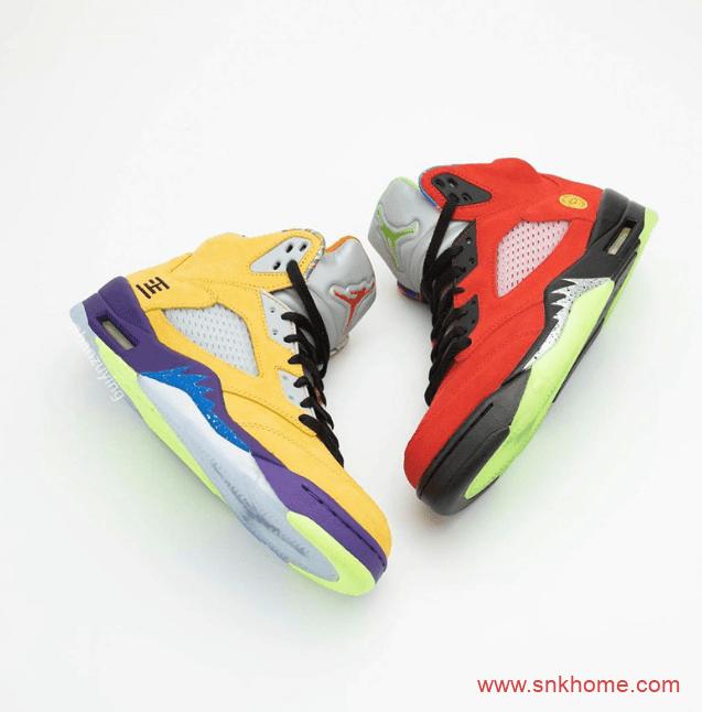 "AJ5融合8双人齐配色 Air Jordan 5 ""What The"" AJ5红黄鸳鸯鞋发售日期 货号:CZ5725-700-潮流者之家"