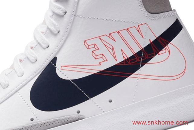 钩子一正一反 Nike Blazer 耐克开拓者小白鞋 开拓者反钩高帮创意新品-潮流者之家
