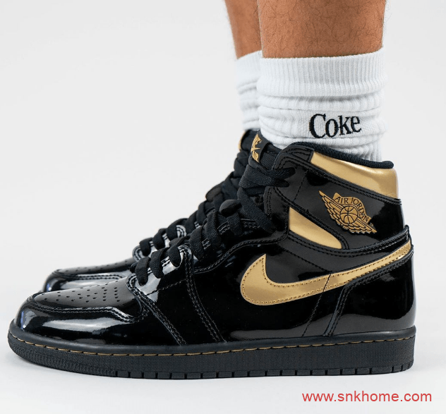 Air Jordan 1 High OGAJ1黑金漆皮上脚图曝光 货号:555088-032-潮流者之家
