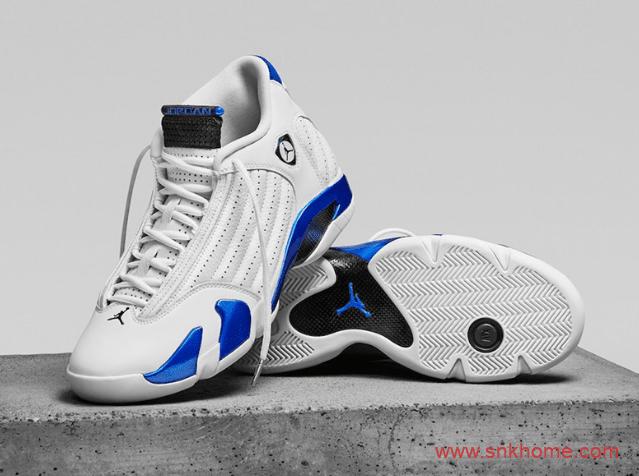 """耐克AJ14皇家蓝 Air Jordan 14 """"Hyper Royal"""" AJ14白蓝 这款很像米勒PE 货号:487471-104-潮流者之家"""