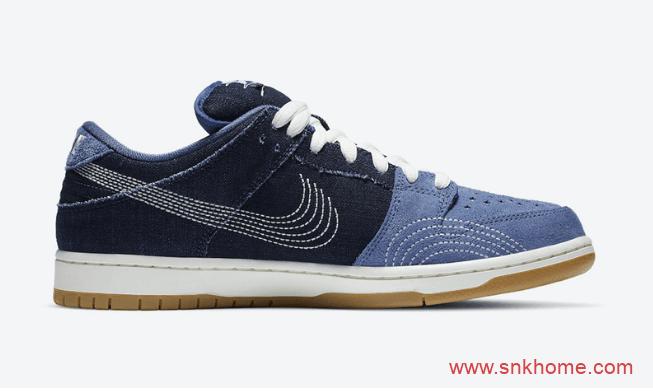 """耐克Dunk单宁翻毛皮车线LOGO Nike SB Dunk Low PRM """"Sashiko""""规格太高发售日期 货号:CV0316-400-潮流者之家"""
