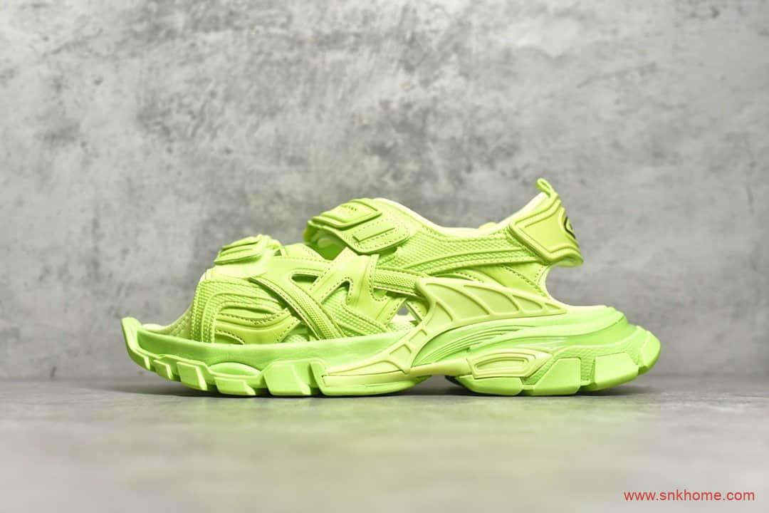巴黎世家荧光黄配色凉鞋老爹鞋 Track Sandal Sneakers
