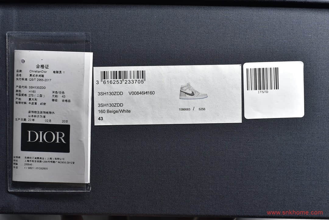 AJ1迪奥联名莆田顶级正确版本 DIOR x Air Jordan 1 High OG白灰 AJ1大迪奥 货号:CN8607-002-潮流者之家