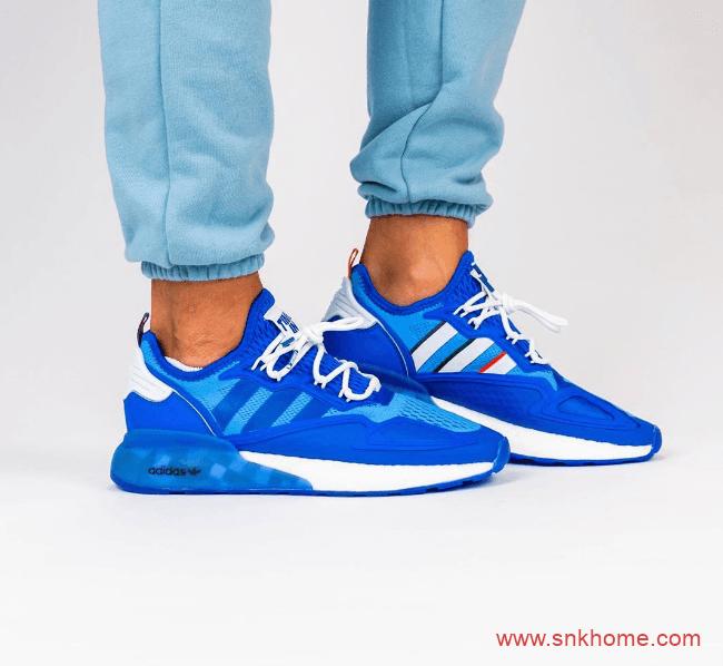 阿迪达斯ZX 2K顶级电竞主播联名Ninja x adidas ZX 2K Boost 阿迪达斯蓝色跑鞋上脚图 货号:FZ1883-潮流者之家