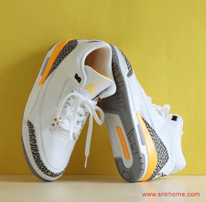 "AJ3湖人配色爆裂纹 Air Jordan 3 WMNS ""Laser Orange""发售日期 货号:CK9246-108-潮流者之家"