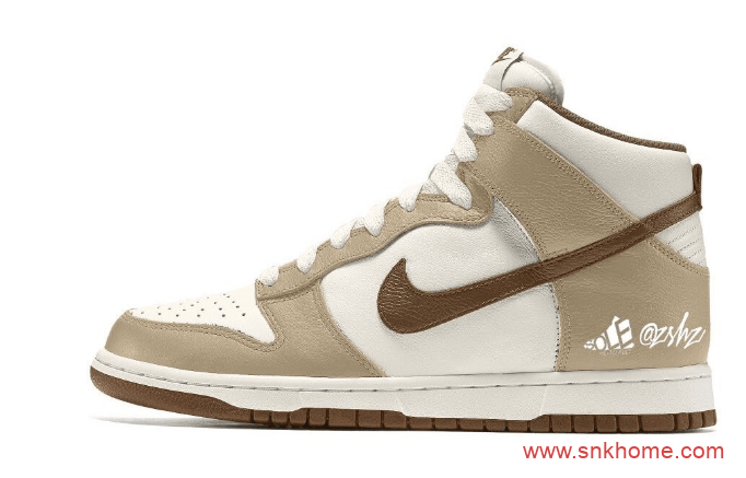 "Nike Dunk High Premium ""Light Chocolate"" 耐克Dunk淡咖啡麂皮高帮渲染图 货号:DH5348-100-潮流者之家"