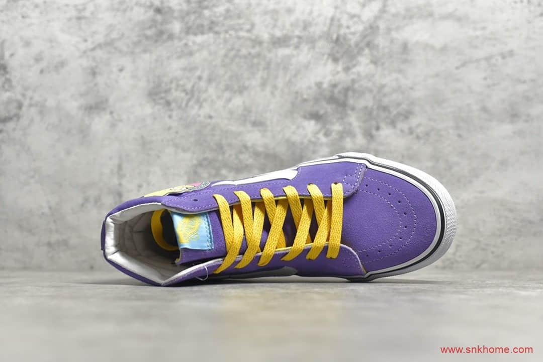 万斯辛普森联名高帮白紫色 Sk8-Hi 万斯辛普森涂鸦帆布鞋 万斯卡通联名款-潮流者之家