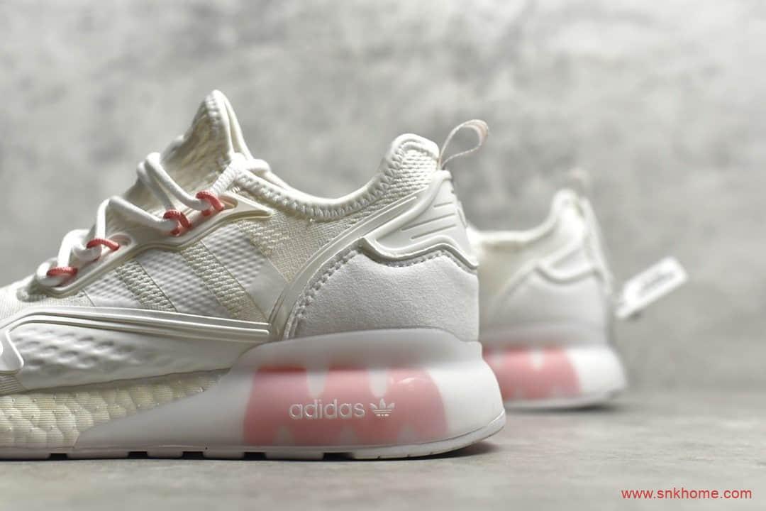 阿迪达斯ZX 2K系列 adidas Originals ZX 2K Boost 阿迪达斯氨纶针织面白粉色跑鞋 货号:FW6089-潮流者之家