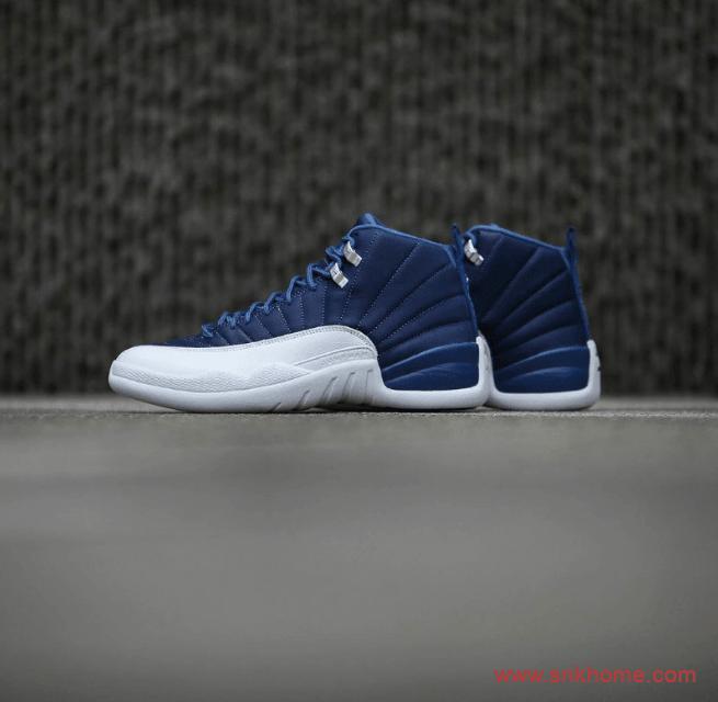 "AJ12靛蓝染色实战篮球鞋 Air Jordan 12 ""Indigo"" 高视觉辨识度AJ12白蓝球鞋 货号:130690-404-潮流者之家"