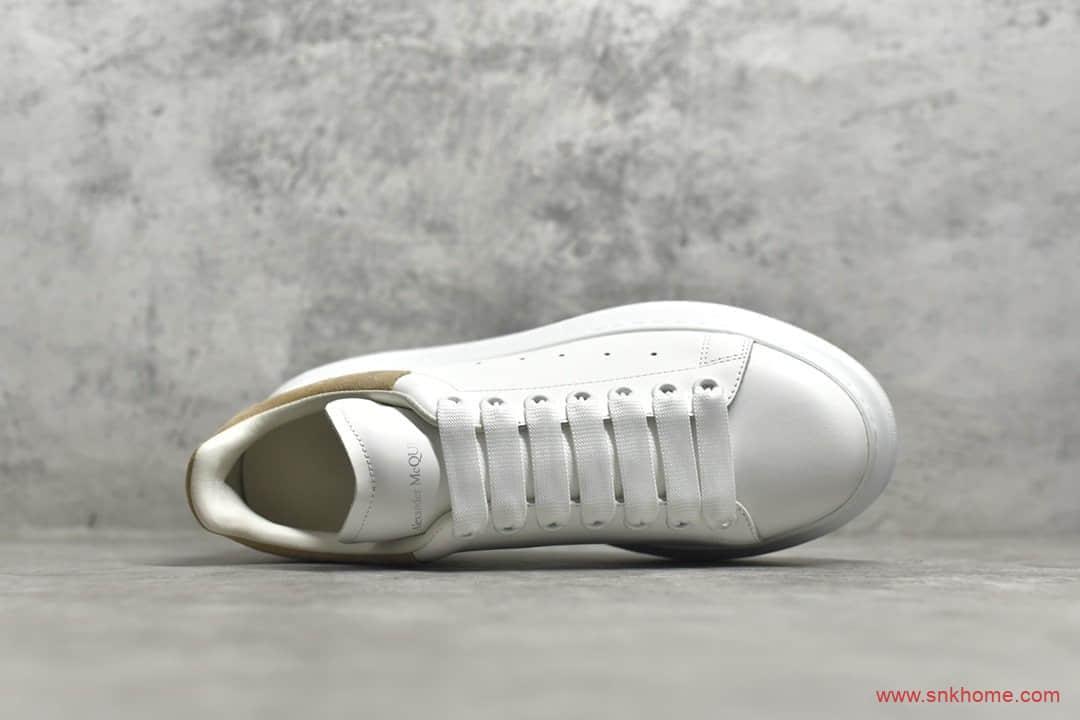 韩国代购版本麦昆小白鞋麦昆老爹鞋 Alexander McQueen sole sneakers 麦昆棕色麂皮尾增高鞋-潮流者之家