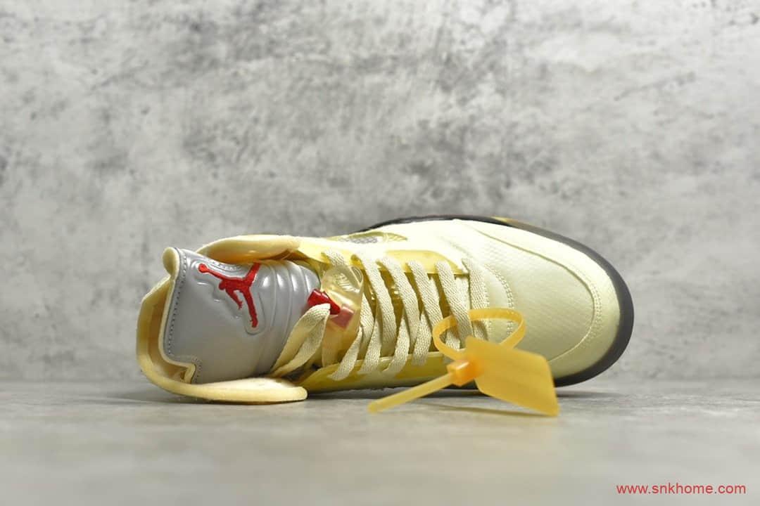 AJ5OW联名米黄色过验版本 Air Jordan 5 x OW联名款 AJ5灰黄金蝉翼 货号:DH8565-100-潮流者之家