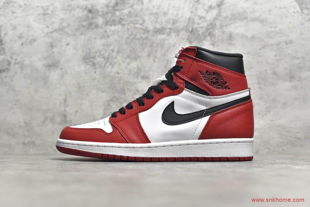 AJ1芝加哥白红高帮 Air Jordan 1 芝加哥 原厂皮料原厂工艺正品1比1AJ货源 CJ纯原版本货号:555088-101-潮流者之家