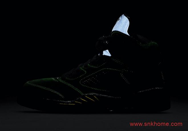 "AJ5俄勒冈大学绿色球鞋官图曝光 Air Jordan 5 SE ""Oregon""黑绿反光配色发售日期 货号:CK6631-307-潮流者之家"