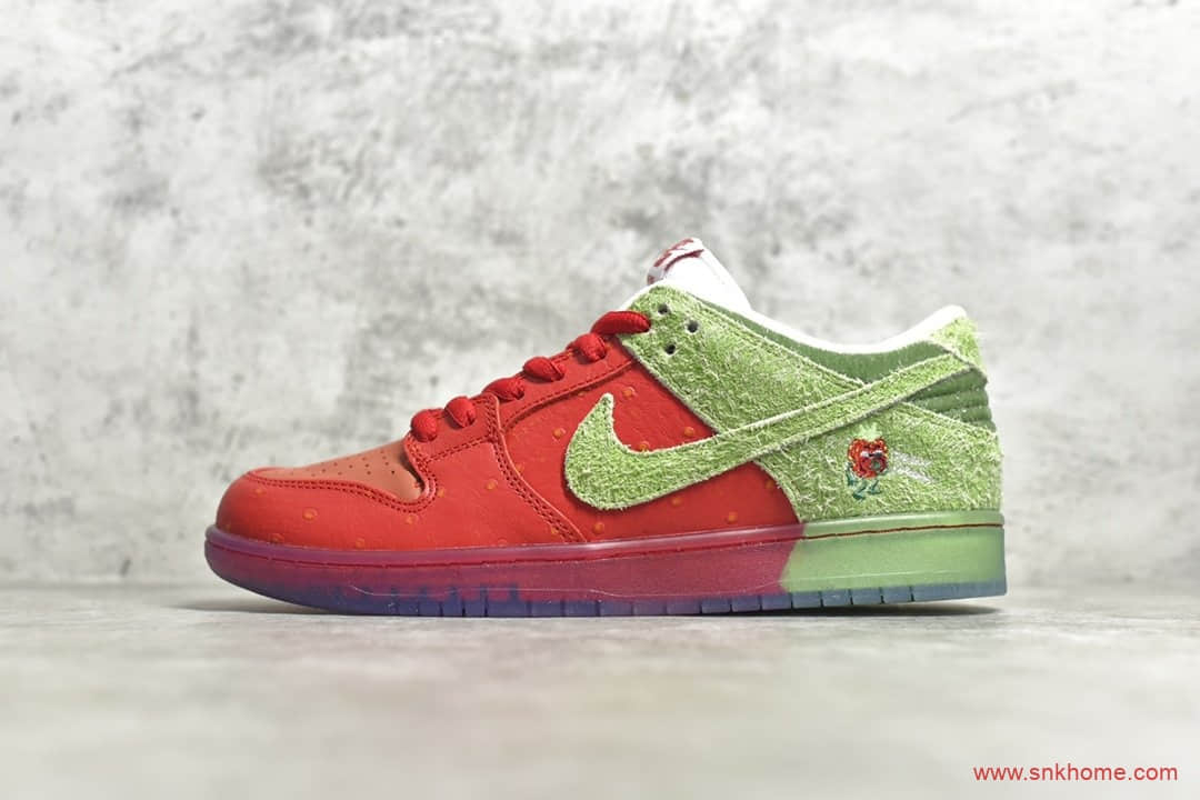 "耐克Dunk咳嗽草莓 NIKE SB Dunk ""strawberry cough""咳嗽草莓白红翻毛皮 货号:CW7093-600-潮流者之家"