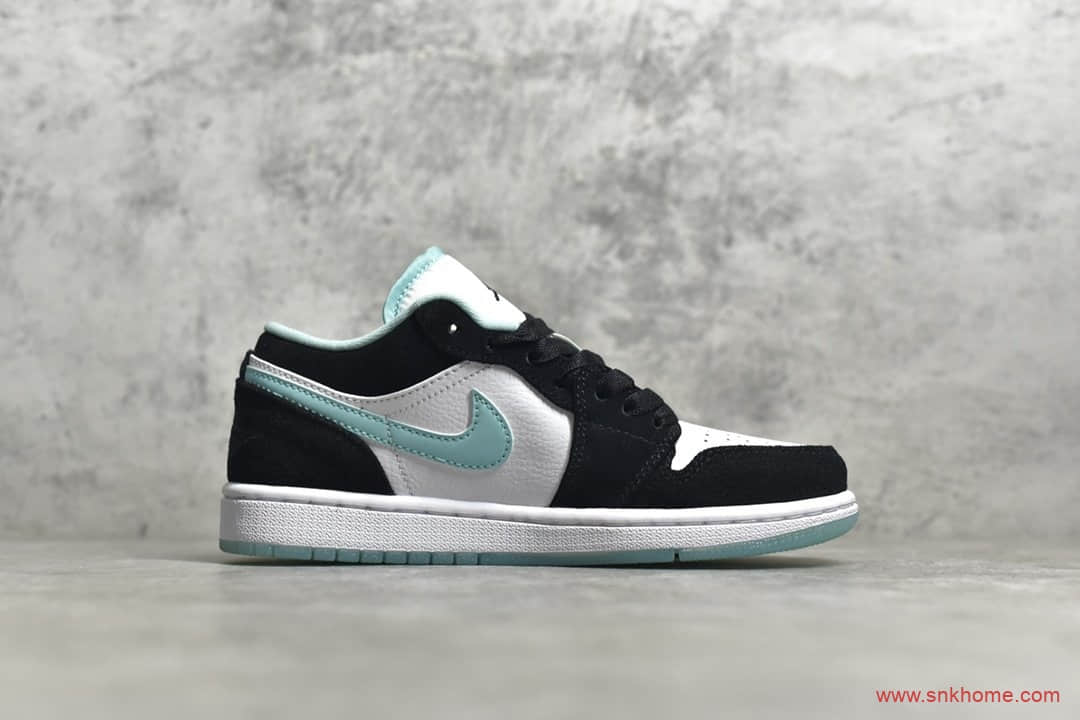 AJ1低帮蒂芙尼反光配色 Air Jordan 1低帮白黑薄荷绿 货号:CQ9828-131-潮流者之家