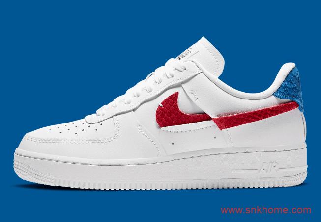 "Nike Air Force 1 ""Vandalised"" 耐克空军断勾红蓝鸳鸯低帮小白鞋解构鞋 货号:DC1164-100-潮流者之家"