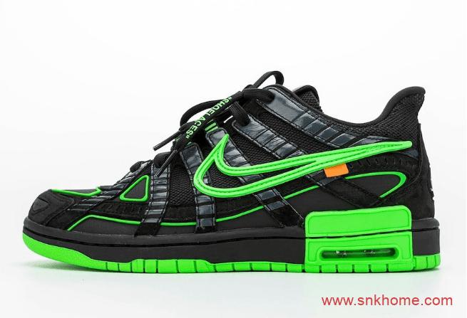 耐克Dunk OW联名滑板鞋 OFF-WHITE x Nike Air Rubber Dunk 黑绿 黑黄 海军蓝三个配色 货号:CU6015-700-潮流者之家