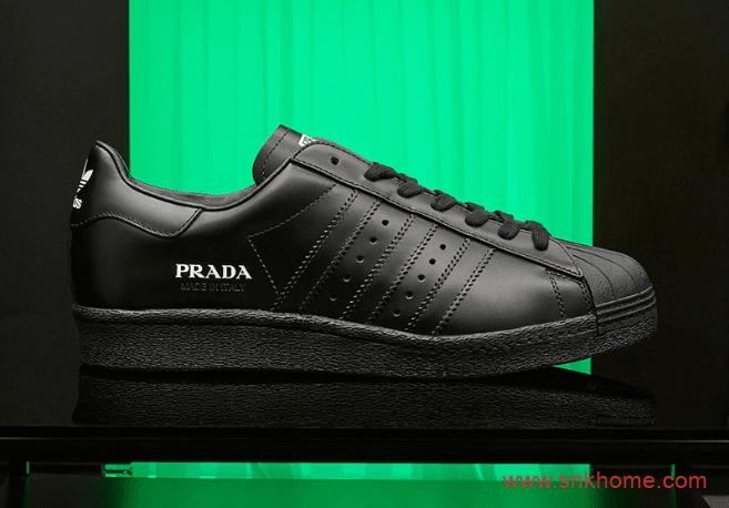 """阿迪达斯贝壳头普拉达联名 PRADA x adidas Superstar """"Core Black"""" 贝壳头黑色白色板鞋 货号:FW6679-潮流者之家"""