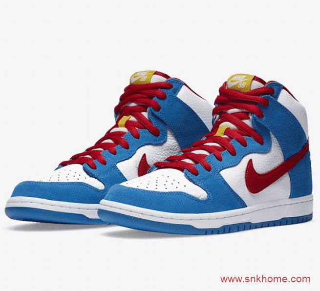 """耐克Dunk机器猫联名 Nike SB Dunk High """"Doraemon"""" 耐克Dunk白红高帮机器猫已经发售 货号:CI2692-400-潮流者之家"""