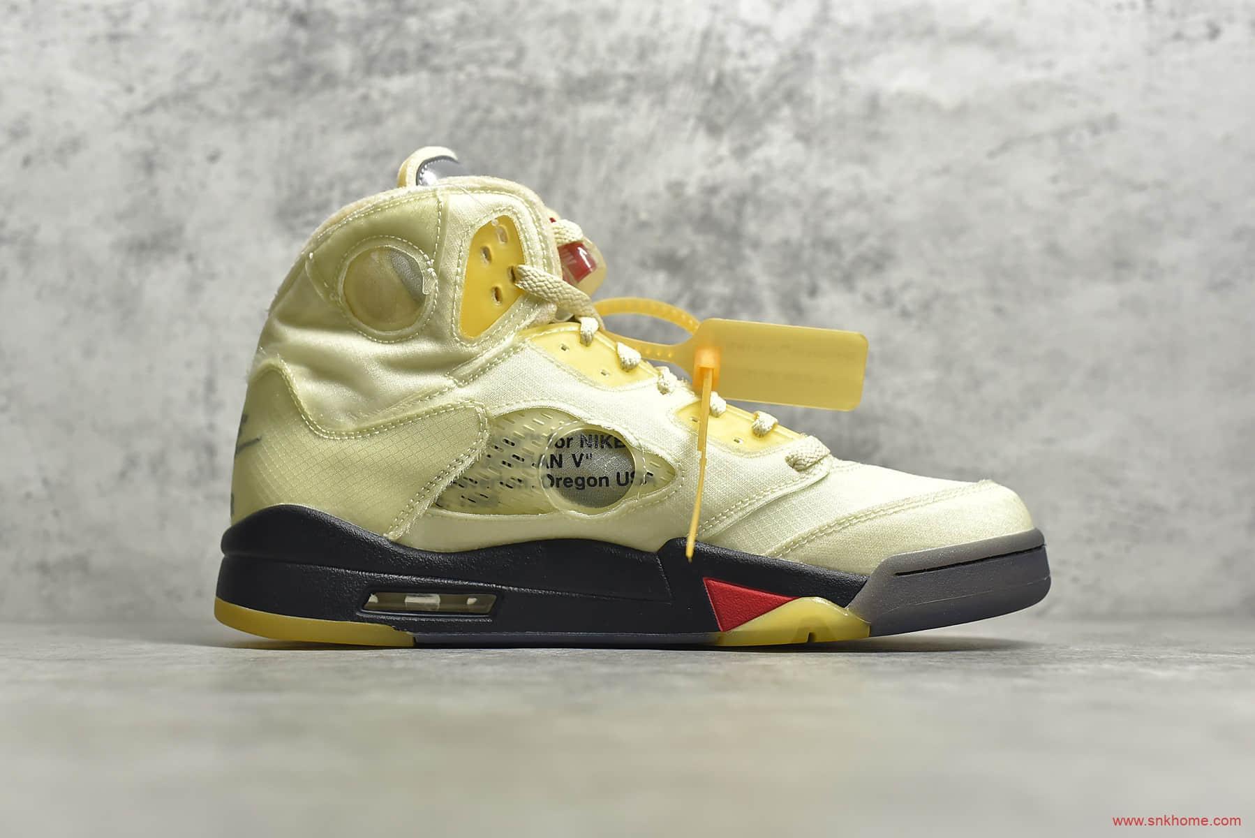 AJ5OW联名白帆金蝉翼 Off-White x Air Jordan 5 AJ5蝉翼OW联名款实战篮球鞋 货号:DH8565-100-潮流者之家