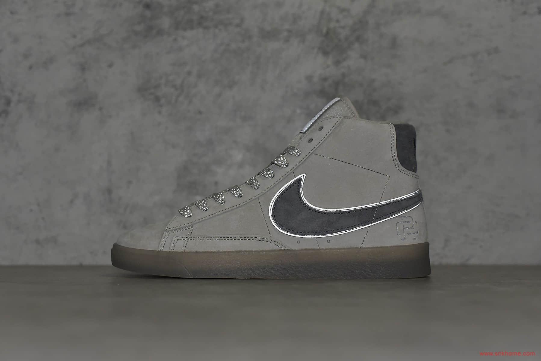 耐克开拓者卫冕冠军联名 Nike Blazer Hi x Reigning Champ 耐克开拓者3M反光灰麂皮高帮板鞋 货号:371761-009-潮流者之家